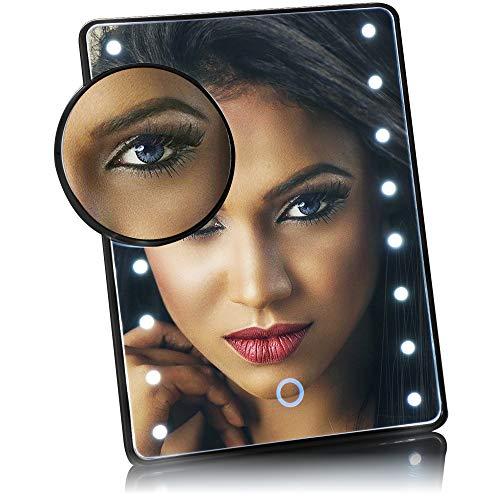 com-four® LED-Kosmetikspiegel mit 10-Fach-Vergrößerungsspiegel - Schminkspiegel mit 16 LEDs - kabelloser Betrieb - mit Standfuß (Schwarz)