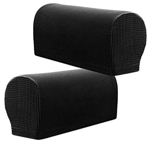 PBIEHSR Armlehnenbezüge, Stretch Sessel, Couch Armlehne Stuhlhussen für Möbelschutz, Anti-Rutsch-Sofa-Stuhl-Armkappen Spandex Polyester Schonbezüge, Set von 2 (schwarz)