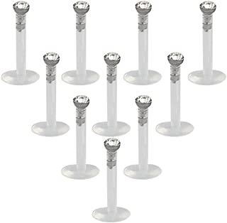 10-15PCS 16G Clear UV Flexible Acrylic 2mm CZ Gem Labret Monroe Lip Ring Tragus Helix Cartilage Earring Stud Barbell Body Piercing Jewelry