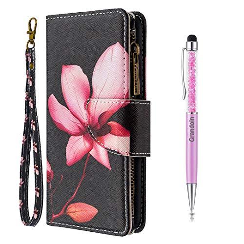 Grandoin für Samsung Galaxy S20 Hülle, Handyhülle im Brieftasche-Stil, Handytasche PU Leder Reißverschluss Klappbarer Flip Cover Bunte Muster Case Schutzhülle (Lotus)