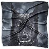 Bandanas de seda mulipurposas cuadradas con estampado delicado de oveja, color negro