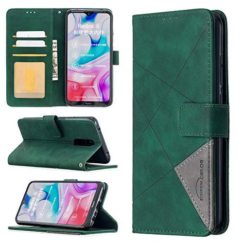 LODROC Xiaomi Redmi 8 Hülle, TPU Lederhülle Magnetische Schutzhülle [Kartenfach] [Standfunktion], Stoßfeste Tasche Kompatibel für Xiaomi Redmi 8 - LOBFE0700455 Grün