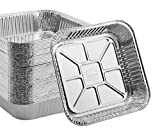 """55 PACK - Aluminum Square Pans, Roasting Pans, Disposable Baking Pans, Square Cake Pans. For Baking Brownies and Meal Prep. Aluminum Pans in Bulk. For Catering. Top: 8''x8'' Bottom: 6.5"""" x 6.5"""""""