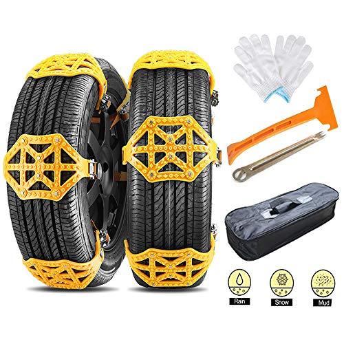CICL Auto Schneeketten 6 Stück Universal Winter Reifenketten Anti-Rutsch Ketten mit Handschuhe und Installations-Tools Fit für Jede Reifenbreite 165-285mm