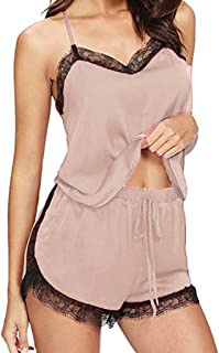 ملابس داخلية نسائية مثيرة للنساء جنسي بلا أكمام الدانتيل مجموعات ملابس تنكرية للنساء ملابس داخلية (اللون: بيج، المقاس: إكس...