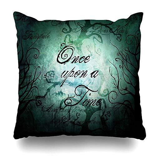 Throw Pillow Cover Square Once Upon a Time Fairytale Forest Funda de Almohada Decorativa Decoración para el hogar Funda de Almohada 18x18 Pulgadas