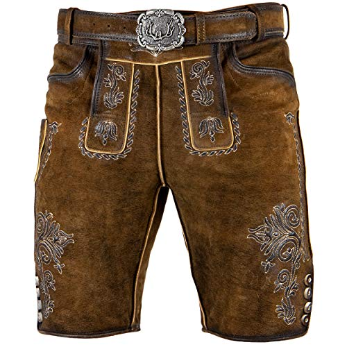 Stockerpoint Trachten Lederhose inklusive Gürtel OC-Mondi für Herren, kurz 100% feinstem Leder (54, Dunkelbraun)