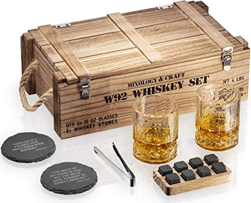 Whiskey Stones Gift Set for Men | Whiskey Glass and Stones Set with Wooden Army Crate, 8 Granite Whiskey Rocks Chilling Stones and 10oz Whiskey Glasses | Whiskey Gift For Men, Dad, Husband, Boyfriend