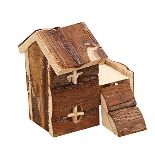 Haustier Holzhaus, Hamster natürliche Blockhaus Mini Luxus Hütte Loft Haus für Rennmäuse Totoro Kleintiere