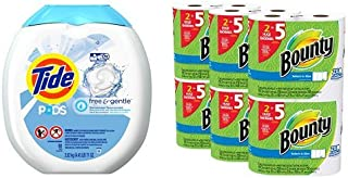 Tide PODS Free & Gentle HE Turbo Laundry Detergent Pacs 81-load Tub and Bounty Select-a-Size Paper Towels, White, Huge Roll, 12 Count bundle
