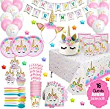 ecoZen Lifestyle Ultimate Unicorn Party Supplies and Plates for Girl Birthday | Best Value Unicorn Party Decorations Set for Creating Unicorn Theme Party