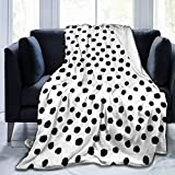 LASWEGA Black and White Spots Dots Dalmation Fleece Sofa Blanket,Lightweight Travel Blanket,Cozy Plush Keep Warm Flannel Small Throws Blankets for Baby/Kids/Youth 40x50 Inch