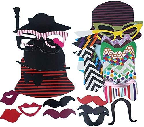 AZLife Kit fai da te di maschere per foto, con bastoncino, accessori per foto e decorazioni per compleanno, laurea, matrimonio, addio al nubilato, eventi in famiglia, confezione da 76
