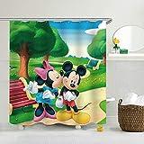 Aliyz Mickey & Minnie Mouse Home Hotel Badezimmer Dekoration wasserdicht mehltaue Umweltschutz leicht zu pflegen duschvorhang Vorhang Polyester Stoff 71x71 Zoll
