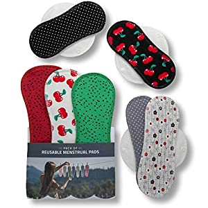 Reusable Sanitary Towels, 7-Pack Cotton Reusable Cloth Pads with Wings for Women, Washable Panty Liners Made in EU, Sanitary Napkins for Menstrual Periods, Incontinence, Postpartum Flow; w/o Chemical
