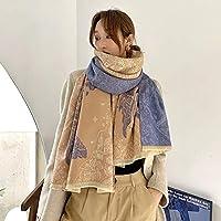 スカーフ 冬の暖かいスカーフ女性カシミアパシュミナショールレディラップブランドプリント厚手の毛布スカーフ女性 ショールラップ (Color : Blue)