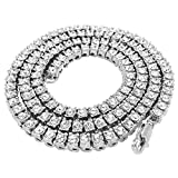NIV'S BLING Tennis Chain for Men and Women – 14K White Gold Plated Iced Lab Diamond 1 Row Necklace