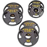 Golds Gym Olympic Plate Set with Grip Plate Design Make...