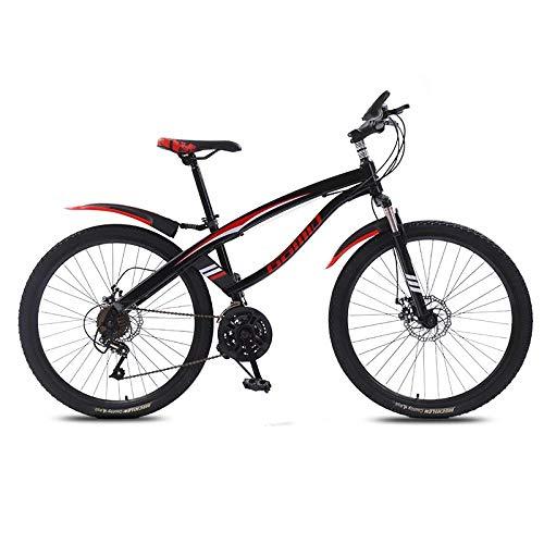 DGAGD Bicicleta de montaña de 24 Pulgadas, luz de Velocidad Variable, Rueda de radios de 21 velocidades, Bicicleta, Negra y roja