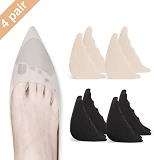 4 Pairs Toe Filler Inserts Adjustable Toe Plug Reusable Shoe Filler for Too Big Shoes for Women Men Unisex Pumps Flats Sneakers - Black + Khaki