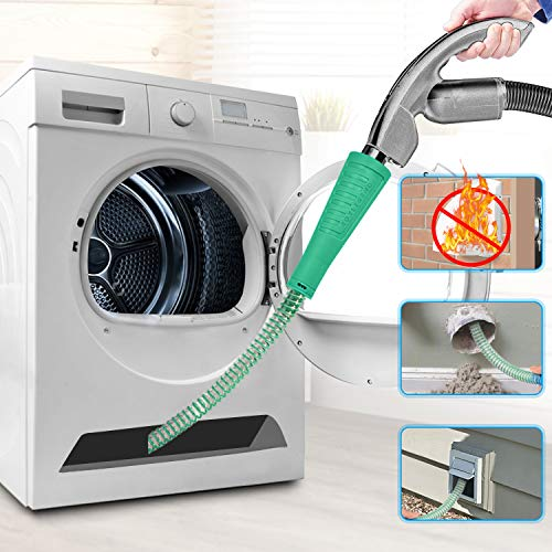 Dryer Vent Cleaner Kit Vacuum Hose Attachment Brush Lint Remover Power Washer and Dryer Vent Vacuum Hose (Green)
