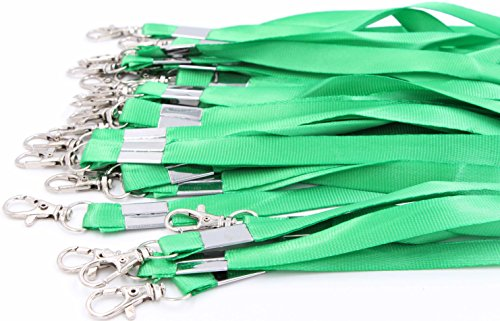 Neck Lanyards for Id Badges - LeBeila Id Badge Lanyard Bulk Order 30pcs Nylon Neck Strap for Badges, ID Holder & Cards (30pcs, Green)