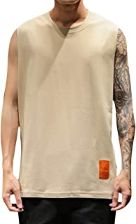 Hanomes Mens Linen Vests Bodybuilding Training Gym Basketball Tank Tops Basic Plain Color Casual Undershirt
