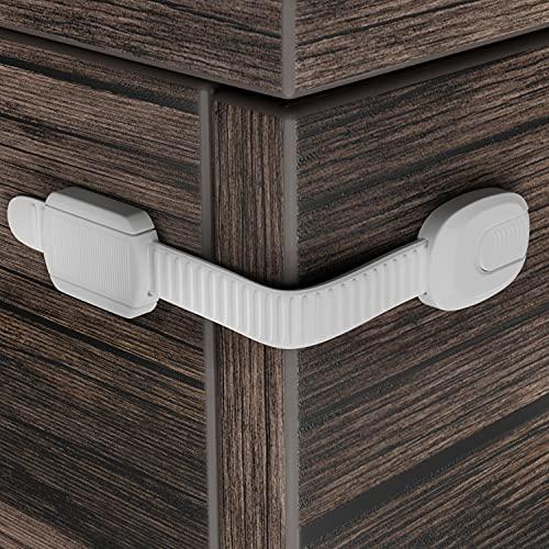 Kindersicherung für Schrank und Schubladen Hoffenbach® - 12x Schranksicherung zum kleben für Baby und Kind - Schubladensicherung Schrankschloss ohne bohren