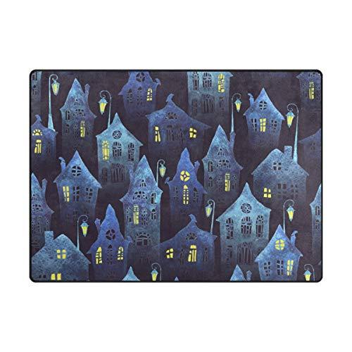 My Daily Fairytale Houses Night Aquarela tapete de área 1,77 m x 1,88 m, sala de estar, quarto, cozinha, tapete de espuma leve decorativo