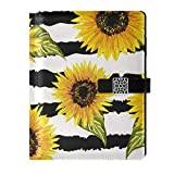 A5 Notebook Binder Journal - Beautiful Sunflowers Travel Dairy Loose Leaf with 6 Ring Refillable Notepad for Schedule Planner Draw Business