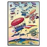 chtshjdtb Cartel de viaje vintage Ilustración de dibujos animados Apertura del Canal de Panamá Avión de globo de aire Cuadro de arte de pared antiguo Pintura de lienzo -50X70 CM Sin marco 1 Uds