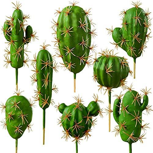 FagusHome 8 Pezzi Piante Grasse Artificiali Cactus Artificiali Piante di Succulente Cactus con Steli per Decorazioni (8)
