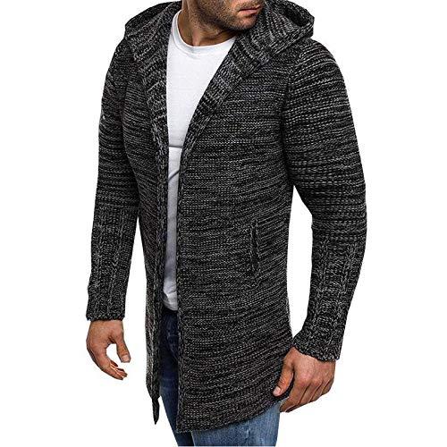 Cárdigan de Cuello Vuelto para Hombre Chaqueta de Punto de Longitud Media Color Mezclado Moda Casual Cálido Suéter de Manga Larga Tops 3X-Large