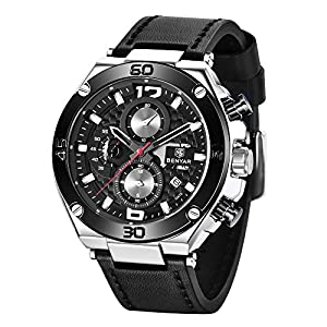 BENYAR Men Watch Quartz Chronograph Date 3ATM Waterproof Watches Business Sport Design Leather Strap Wrist Watch for Men…