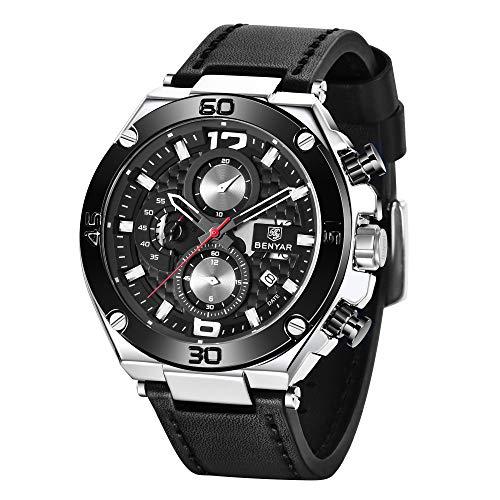 BENYAR Relojes de Pulsera Casual Deportivo Cuarzo analógico Reloj Cronógrafo Impermeable Cuero Pulsera para Hombres