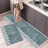 Alfombrillas de Cocina Modernas Impresas en 3D, alfombras de Entrada para dormitorios y Salas de Estar, alfombras Antideslizantes Lavables en baños A10 40x60cm + 40x120cm