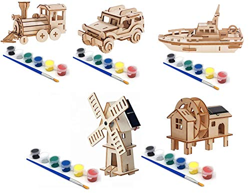 Original Hobby Road Vehicle 3D Puzzles (Set of 5 Includes Jeep, 18-Wheeler Big Rig Truck, London Bus, Harley Motorcycle, Roadster) with Punchout Scenery and Paints