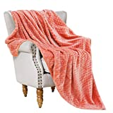 Exclusivo Mezcla Brushed Diamond Check Large Flannel Fleece Throw Blankets (Coral, 50' x 70')-Soft, Warm and Lightweight