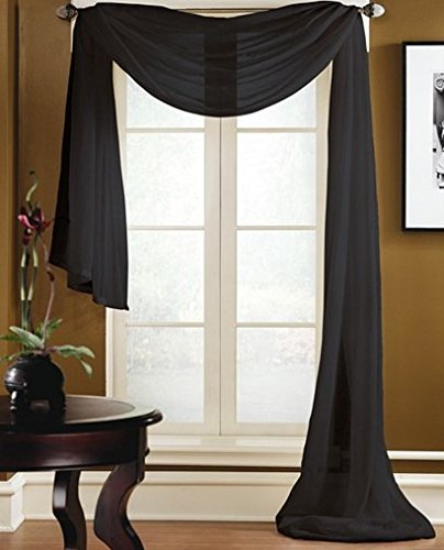 Gorgeous Home 1 PC Solid Black Scarf Valance Soft Sheer Voile Window Panel Curtain 216' Long Topper Swag
