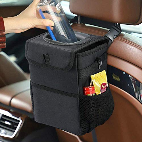 Kartisen Car Trash Can with Lid and Storage Pockets, 100% Leak-Proof Car Organizer, Waterproof Car Garbage Can, Multipurpose Trash Bin for Car