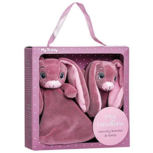 My Teddy Geschenkbox Kuscheltuch und Rassel rosa/pink Kleinkinder Neugeborene Babys