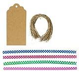 Wrapables 200pcs 4Inch Lunares lazos de torcedura de con 20festoneado etiquetas de regalo para sellado de una fiesta Treat Bolsas y bolsas de violonchelo
