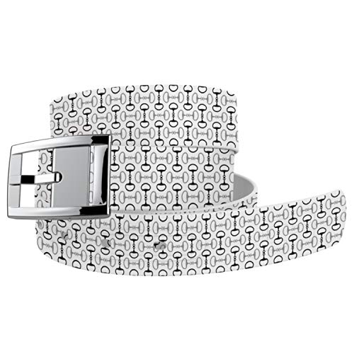 C4 Equestrian Belt: Bits n Pieces With Buckle - Equestrian Horseback Riding Belt for Women (White Bits n Pieces|Silver Chrome)