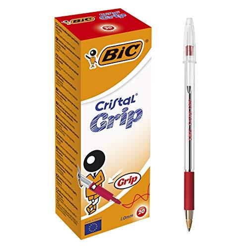 BIC Kugelschreiber Cristal Grip (Kappenmodell, 1 mm) Schachtel à 20 Stück, rot