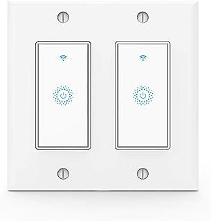 Kkcool Smart Switch-WiFi Smart Light Switch Work with Alexa, Google Home, Wireless Control, 2.4G WiFi Smart Light Switch, Single-Pole, Neutral Wire Required, No hub, 2 Gang