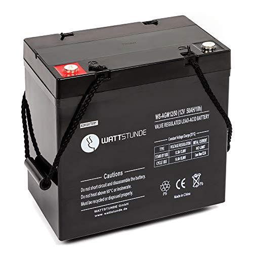 WATTSTUNDE 12V VRLA AGM Batterie - Zyklenfester und wartungsfreier 50 Ah C20 Solar Akku perfekt für autarke Anlagen mit M6 Anschluss (50Ah)