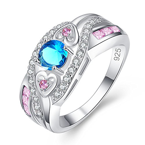 Emsione 925 Sterling Silver Plated Created Blue Topaz Round CZ Cut with 3 Heart Cross Pave Wedding Engagement Eternity Ring for Women Girls Blue Topaz Heart Cross