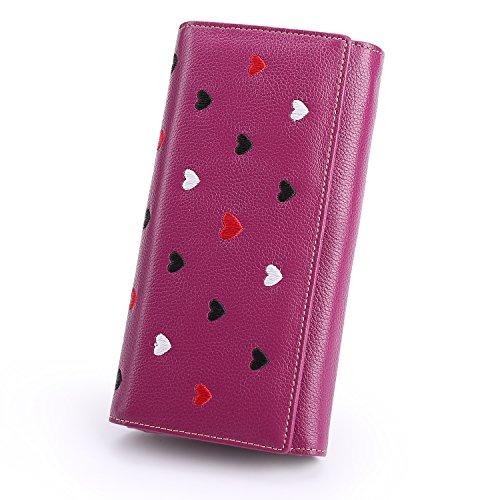 Dames Leder Zachte Mode Hart Patroon Grote Capaciteit Lady Portemonnee 12 Card Slots Telefoon Cash Rits portemonnee