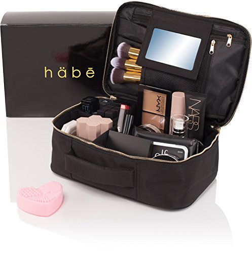 habe Travel Makeup Bag with Mirror - Fits ALL Your Makeup! Make Up Organizer Train Case for Women - Storage Capacity of 3 Cosmetic Bags/Cases - Adjustable Compartments (BONUS...