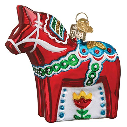 Old World Christmas Swedish Dala Horse Glass Blown Ornaments for Christmas Tree
